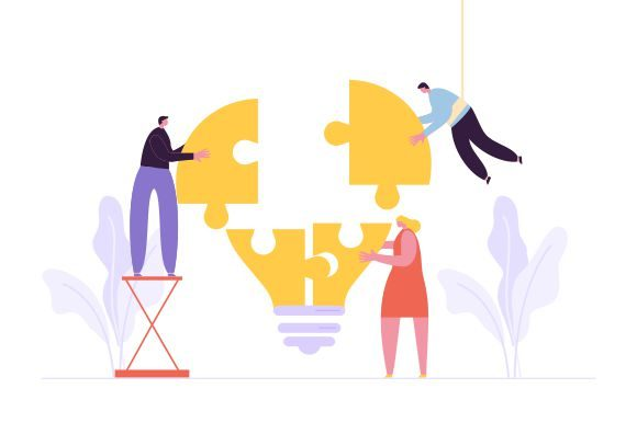 Business Teamwork with Pieces of Puzzle Graphic Logos By DEEMKA STUDIO