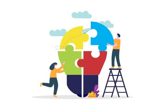 Business Teamwork with Pieces of Puzzle Graphic Logos By 2qnah