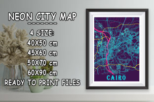 Print on Demand: Cairo - Egypt Neon City Map Graphic Photos By tienstencil