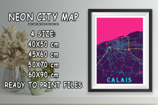 Print on Demand: Calais - France Neon City Map Graphic Photos By tienstencil