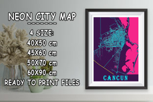 Print on Demand: Cancun - Mexico Neon City Map Graphic Photos By tienstencil