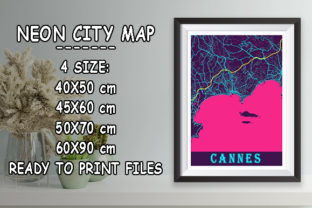 Print on Demand: Cannes - France Neon City Map Graphic Photos By tienstencil