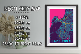 Print on Demand: Cape Town - South Africa Neon City Map Graphic Photos By tienstencil