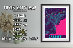 Print on Demand: Cardiff - United Kingdom Neon City Map Graphic Photos By tienstencil