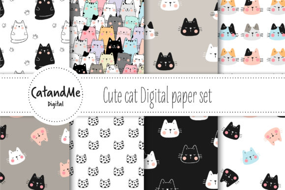 Cat Digital Paper Set Graphic Illustrations By CatAndMe