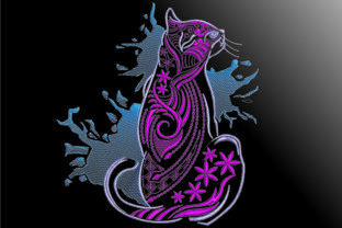 Print on Demand: Cats Ornament Cats Embroidery Design By Samsul Huda