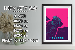 Print on Demand: Cayenne - France Neon City Map Graphic Photos By tienstencil