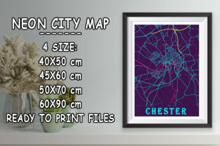 Print on Demand: Chester - United Kingdom Neon City Map Graphic Photos By tienstencil