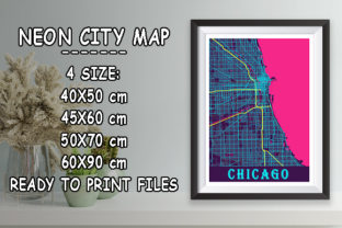 Print on Demand: Chicago - Illinois Neon City Map Graphic Photos By tienstencil