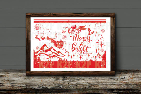 Print on Demand: Christmas Card Merry and Bright SVG Graphic Crafts By KtwoP
