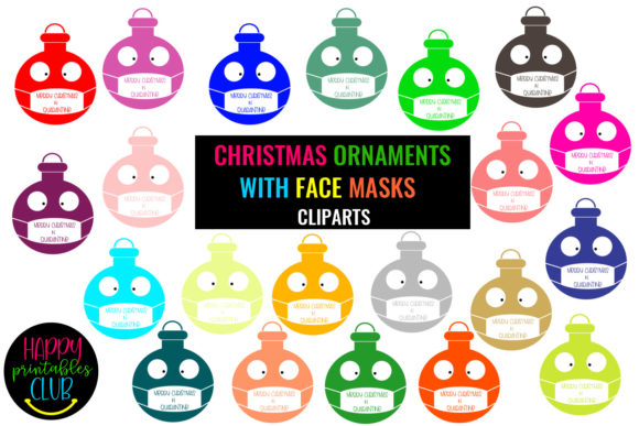 Print on Demand: Christmas Ornaments with Face Masks Graphic Illustrations By Happy Printables Club