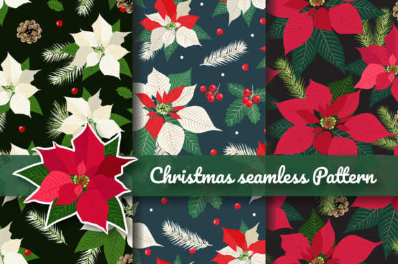 Print on Demand: Christmas Poinsettia Seamless Pattern Graphic Patterns By jannta