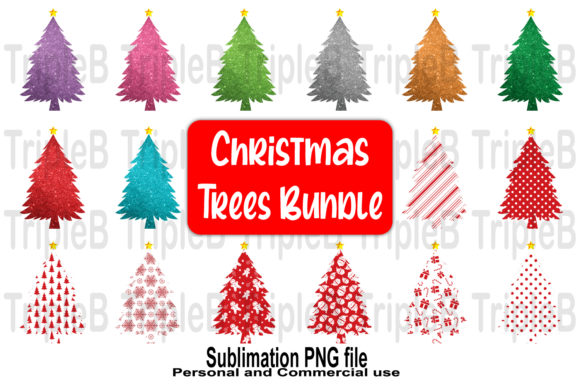 Print on Demand: Christmas Trees Sublimation Bundle Set 3 Graphic Crafts By TripleBcraft