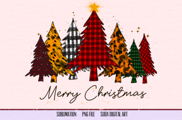 Print on Demand: Christmas Trees Sublimation Graphic Illustrations By Suda Digital Art