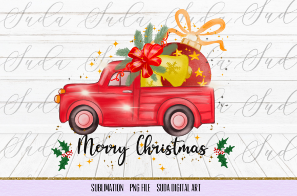 Print on Demand: Christmas Truck Sublimation Graphic Illustrations By Suda Digital Art