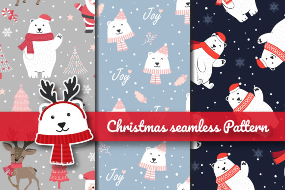 Print on Demand: Christmas White Bear Seamless Pattern Graphic Patterns By jannta