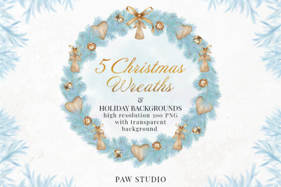 Print on Demand: Christmas Wreath Winter Decorations Card Graphic Illustrations By PawStudio
