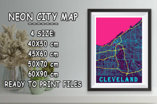 Print on Demand: Cleveland - United States Neon City Map Graphic Photos By tienstencil