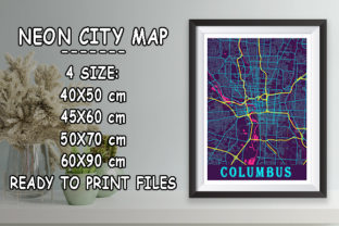 Print on Demand: Columbus - United States Neon City Map Graphic Photos By tienstencil