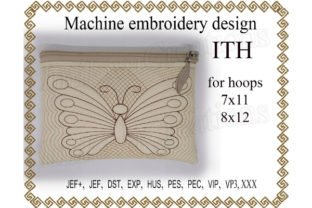 Cosmetic Bag Zippered Butterfly - in the Hoop Sewing & Crafts Embroidery Design By ImilovaCreations