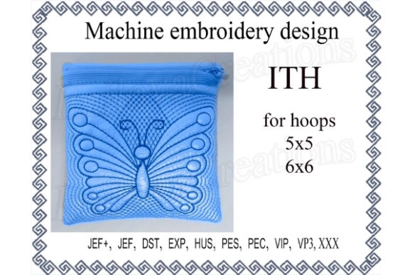 Cosmetic Bag Zippered Butterfly - in the Hoop Embroidery