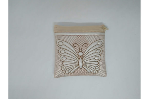 Cosmetic Bag Zippered Butterfly - in the Hoop Embroidery Item