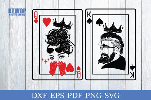 Print on Demand: Couple King and Queen Card SVG Graphic Crafts By KtwoP