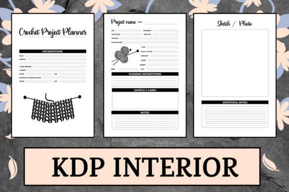 Print on Demand: Crochet Project Planner | KDP Interior Graphic KDP Interiors By Hungry Puppy Studio