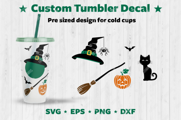 Custom Halloween Tumbler Decal. Graphic Crafts By Natariis Studio