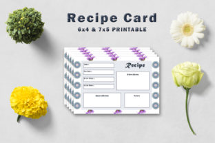 Print on Demand: Decorative Floral Recipe Card Template Graphic Print Templates By Creative Tacos