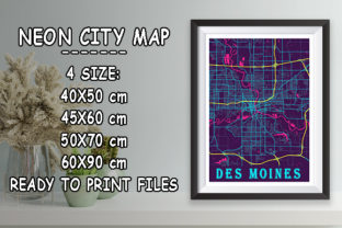 Print on Demand: Des Moines - United States Neon City Map Graphic Photos By tienstencil