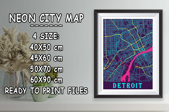 Print on Demand: Detroit - Michigan Neon City Map Graphic Photos By tienstencil