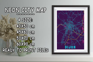 Print on Demand: Dijon - France Neon City Map Graphic Photos By tienstencil