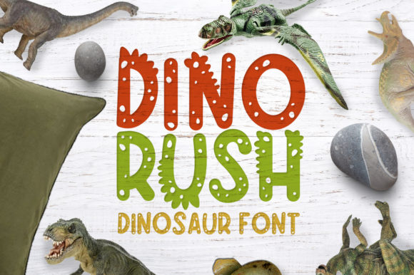 Print on Demand: Dino Rush Display Font By arausidp