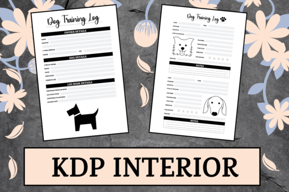 Print on Demand: Dog Training Log | KDP Interior Graphic KDP Interiors By Hungry Puppy Studio