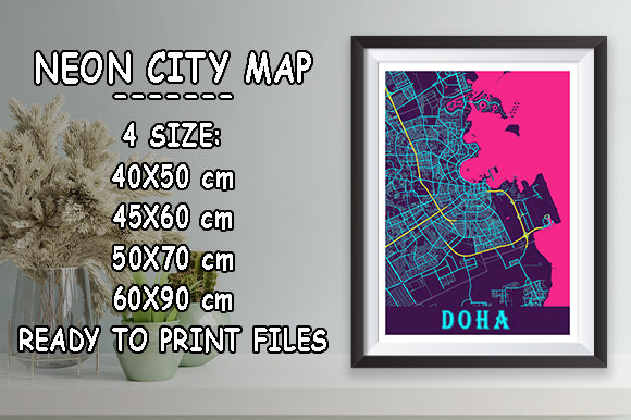Print on Demand: Doha - Qatar Neon City Map Graphic Photos By tienstencil