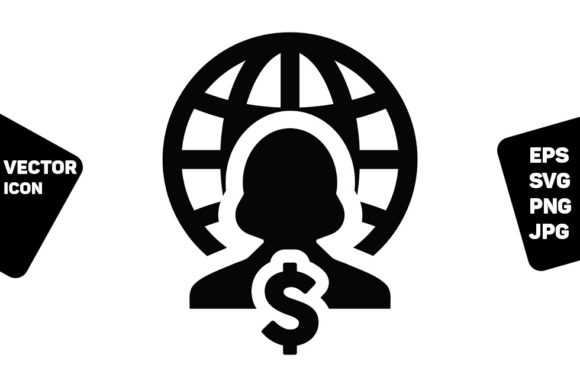 Print on Demand: Dollar Icon Vector Globe Sign Female Graphic Icons By TukTuk Design