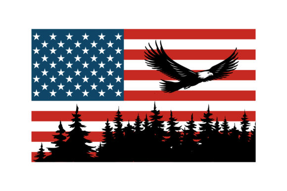 Print on Demand: Eagle Flying Trees American Flag PNG Graphic Illustrations By SunandMoon