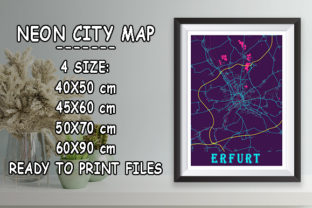 Print on Demand: Erfurt - Germany Neon City Map Graphic Photos By tienstencil