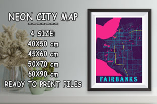 Print on Demand: Fairbanks - United States Neon City Map Graphic Photos By tienstencil