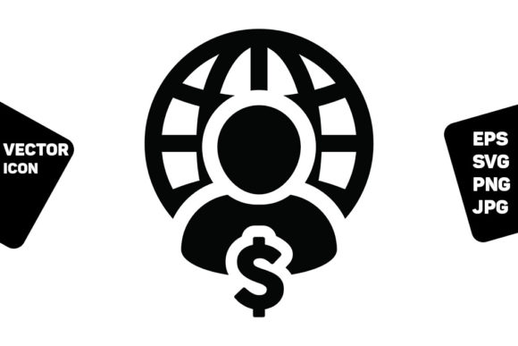 Print on Demand: Finance Icon Vector Globe Dollar Sign Graphic Icons By TukTuk Design