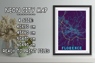 Print on Demand: Florence - Italy Neon City Map Graphic Photos By tienstencil