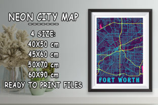 Print on Demand: Fort Worth - United States Neon City Map Graphic Photos By tienstencil