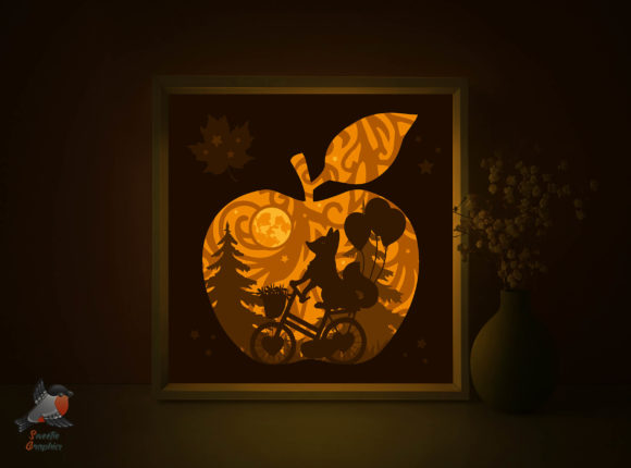 Fox Riding Bicycle Light Box SVG Apple Graphic 3D Shadow Box By SweetieGraphics