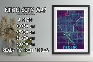 Print on Demand: Fresno - United States Neon City Map Graphic Photos By tienstencil