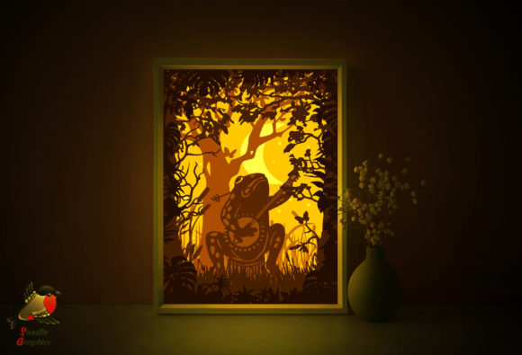 Frog with Bonjo 3D Light Box Template Graphic 3D Shadow Box By SweetieGraphics