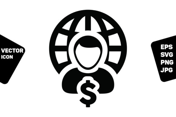 Print on Demand: Globe Icon Vector with Dollar Sign Money Graphic Icons By TukTuk Design