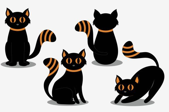 Halloween Cat Collection Ilustration Graphic Logos By DEEMKA STUDIO