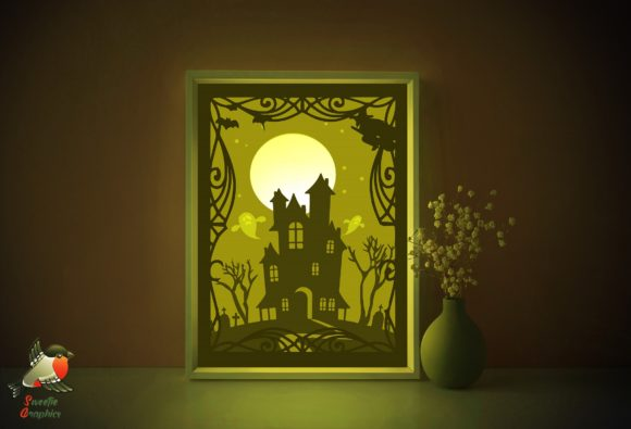 Halloween Haunted House Light Box SVG Graphic 3D Shadow Box By SweetieGraphics