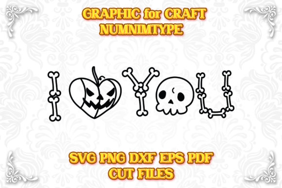 Print on Demand: Halloween Love Pumpkin & Skull Bone SVG Graphic Crafts By numnim